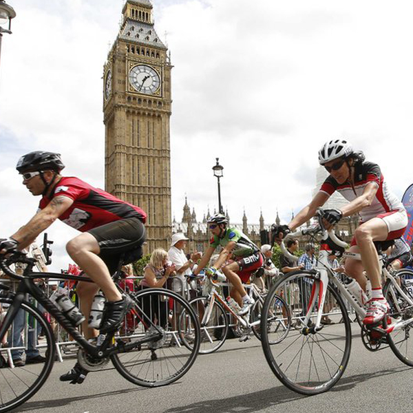 Cyclists pedal their way to raising money in the RideLondon-Surrey 100