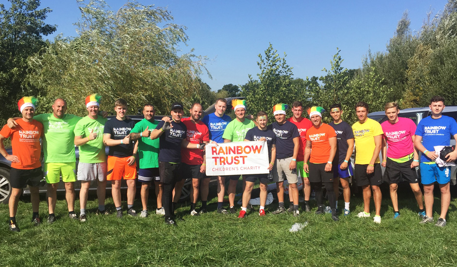 Rainbow Trust dad rallies eighteen friends for mud race